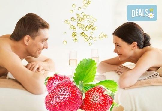 Синхронен масаж за двама с ароматен пилинг и етерични масла: ягода и шампанско, жасмин или грозде в СПА център Pro Therapy! - Снимка 1