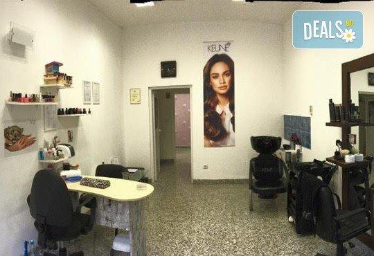 За ослепителна визия! Вземете измиване с професионални продукти KEUNE, полиране на косата, терапия по избор и прическа със сешоар или плитка в Ивелина студио! - Снимка 7