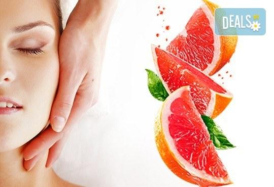 За нови сили и настроение! 60-минутен енергизиращ масаж с червен грейпфрут на цяло тяло, за преодоляване на умората и стреса, подарък-масаж на лице в студио GIRO! - Снимка 1