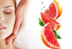 За нови сили и настроение! 60-минутен енергизиращ масаж с червен грейпфрут на цяло тяло, за преодоляване на умората и стреса, подарък-масаж на лице в студио GIRO! - Снимка