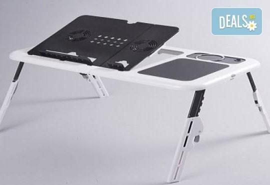За Вашето удобство! Преносима и сгъваема маса E-table за лаптоп с 2 броя вградени вентилатори от Магнифико! - Снимка 1