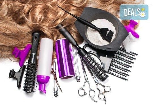 Два или три цвята кичури с професионална боя Милк Шейк, сметана за коса, матиране и оформяне на прическа със сешоар, шиш или преса в студио Beauty! - Снимка 2