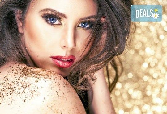 Златен масаж на лице, шия и деколте или цяло тяло или пакет от две процедури за лице и тяло от студио за красота Denny Divine - Снимка 1