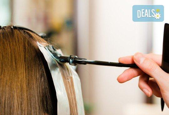 Диагностика на косата, боядисване на цялата коса, стил омбре или кичури с фолио по избор плюс матиране, подстригване и оформяне на прическа със сешоар - Снимка 3