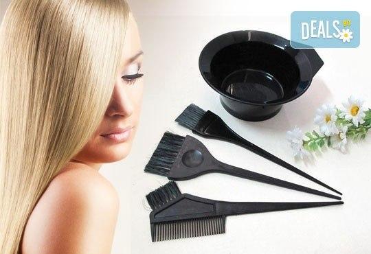 Диагностика на косата, боядисване на цялата коса, стил омбре или кичури с фолио по избор плюс матиране, подстригване и оформяне на прическа със сешоар - Снимка 1