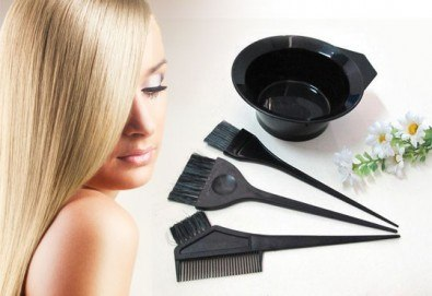 Диагностика на косата, боядисване на цялата коса, стил омбре или кичури с фолио по избор плюс матиране, подстригване и оформяне на прическа със сешоар - Снимка