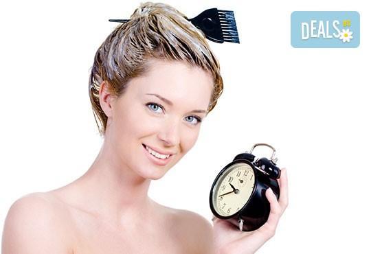 Боядисване на цялата коса, стил омбре, балеаж или кичури с фолио по избор плюс матиране, подстригване и оформяне на прическа със сешоар - Снимка 2