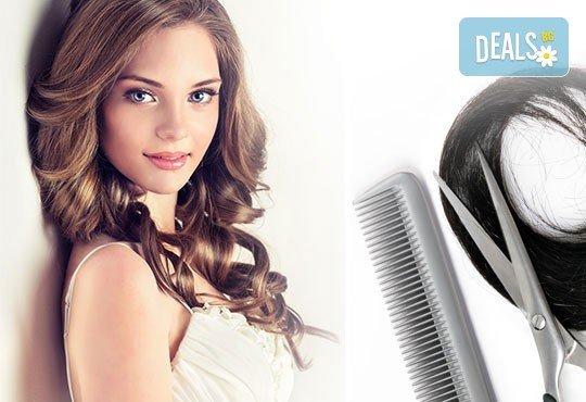 Боядисване на цялата коса или кичури, арганова затопляща терапия, ампула, масажно измиване и оформяне на прическа със сешоар в център Daerofit! - Снимка 3