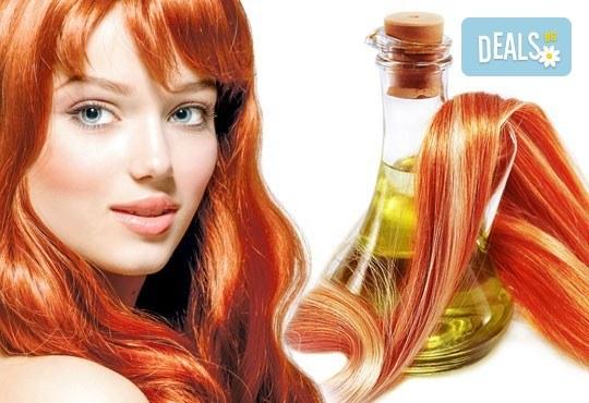 Боядисване на цялата коса или кичури, арганова затопляща терапия, ампула, масажно измиване и оформяне на прическа със сешоар в център Daerofit! - Снимка 1