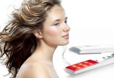 Терапия за коса с инфраред преса, оформяне в желаната прическа - права или букли от фризьор-стилист Лили Неделчева в студио Giro! - Снимка