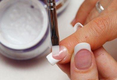 Красив и оформен дълготраен маникюр! Ноктопластика чрез изграждане с гел, лакиране с SNB и 4 декорации в Gx Studio - Снимка
