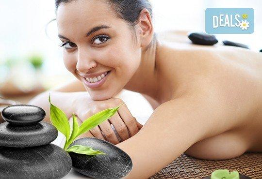 Без стрес и умора! 60-минутен дълбоко релаксиращ масаж на цяло тяло с топли вулканични камъни в комбинация с ароматерапия в салон за красота ФЛЕШ! - Снимка 1