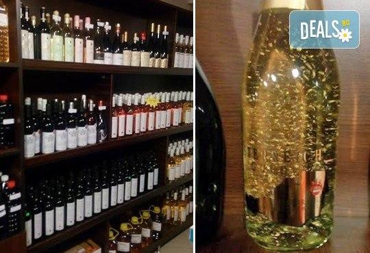 За празниците! Испанско синьо шардоне PASIONBLUE, австрийско златно шампанско ÖSTERREICH GOLD с 23 карата златни частици и българско червено вино Kaba Gayda от Винарната! - Снимка 1
