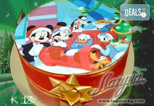 Коледни детски торти с весели коледни картички върху тях, вкус по избор - еклерова с баварски крем или шоколадова, еклерова торта Наоми от салон Лагуна! - Снимка 2
