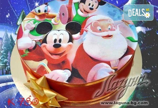 Коледни детски торти с весели коледни картички върху тях, вкус по избор - еклерова с баварски крем или шоколадова, еклерова торта Наоми от салон Лагуна! - Снимка 1