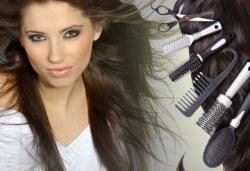 Подстригване с гореща ножица и подсушаване + терапия по избор според типа коса и инфраред преса в салон Женско царство! - Снимка