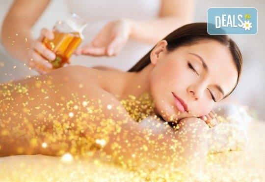 90-минутен СПА пакет - лечебен или кралски масаж на цяло тяло и глава с нано злато и детоксикиращ масаж с мед на гръб, бонус - рефлексотерапия на стъпала - Снимка 1