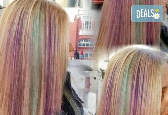 Разнообразете визията си с нова прическа! Подстригване, измиване, маска и оформяне на прическа със сешоар в салон Госпожица Ножица, Варна - Снимка 3