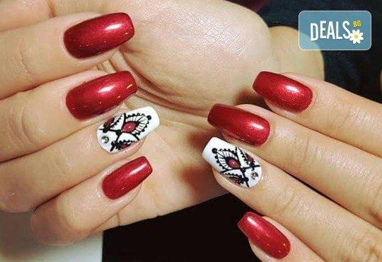 Празничен маникюр за Св. Валентин с гел лак BlueSky, с 2 или 4 декорации, вграждане на камъчета и надпис от Салон Мечта! - Снимка 4