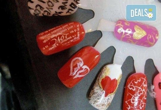 Празничен маникюр за Св. Валентин с гел лак BlueSky, с 2 или 4 декорации, вграждане на камъчета и надпис от Салон Мечта! - Снимка 5