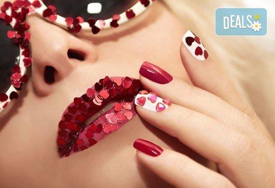 Празничен маникюр за Св. Валентин с гел лак BlueSky, с 2 или 4 декорации, вграждане на камъчета и надпис от Салон Мечта! - Снимка 2