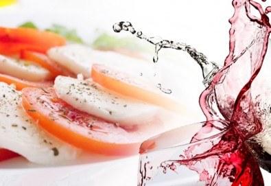 Здравословно и вкусно с аромат на Италия! Салата Капрезе и чаша бяло или червено вино по избор, ресторант Клуб на актьора! - Снимка