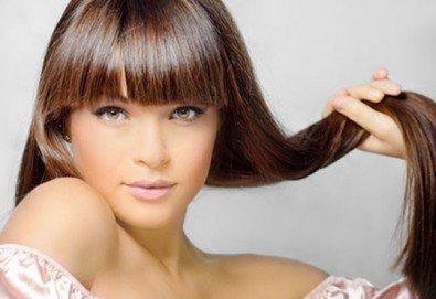 Подстригване и терапия по избор - хидратираща, интензивна или против косопад и подсушаване или сешоар в салон Краси Найл - Снимка