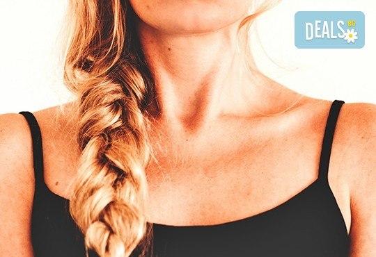 Боядисване с боя на клиента, терапия за коса и оформяне със сешоар с обем в корена и плитка в Studio V! - Снимка 2