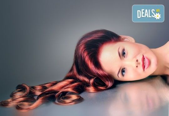 Боядисване с боя на клиента, терапия за коса и оформяне със сешоар с обем в корена и плитка в Studio V! - Снимка 1