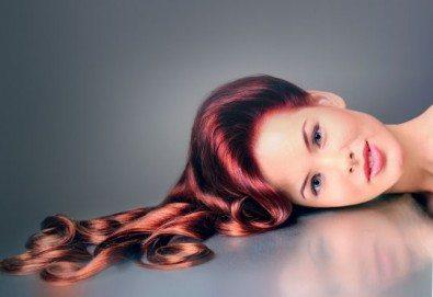 Боядисване с боя на клиента, терапия за коса и оформяне със сешоар с обем в корена и плитка в Studio V! - Снимка