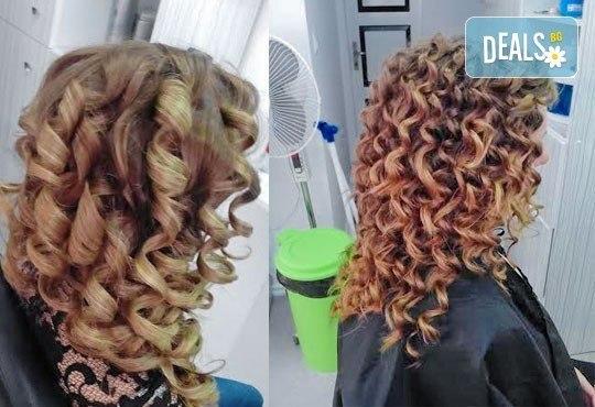 Боядисване с боя на клиента, терапия за коса и оформяне със сешоар с обем в корена и плитка в Studio V! - Снимка 6