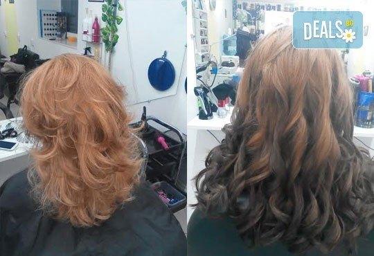 Боядисване с боя на клиента, терапия за коса и оформяне със сешоар с обем в корена и плитка в Studio V! - Снимка 4