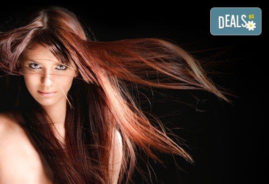 Нова и красива визия за Вашата коса! Масажно измиване, боядиване с професионална боя Fadiam, подстригване, терапия с кератин и шоколад и стилизиране със сешоар - Снимка 3