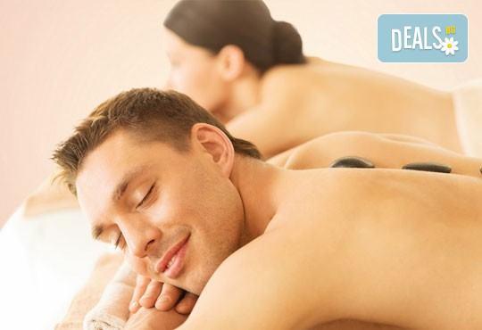 Релакс! Лечебен масаж на гръб с вулканични камъни, женшен, портокал, бадемово масло и зонотерапия на ръце и длани за един или за двама в Chocolate studio! - Снимка 1