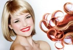 Едноцветни или двуцветни кичури, подстригване на връхчета, масажно измиване, терапия, оформяне на прическа със сешоар в салон Flowers 2 - Снимка