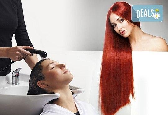 Боядисване с Milk Shake, терапия за активно възстановяване на косата, сешоар и бонус: подстригване на връхчета в Козметично студио Beauty! - Снимка 1