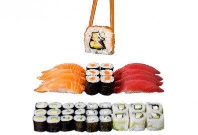 Суши екзотика в сет Izanami със 123 бр. хапки с манго, сьомга, риба тон, нори и японски сосове от Sushi King! - Снимка