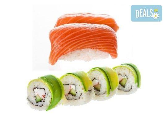 Вкусът на Изтока! Суши сет HAYABUSA с 96 броя суши хапки със сьомга, риба тон, авокадо, нори, манго и сирене Philadelphia от Sushi King! - Снимка 1