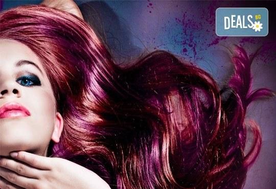 Нова колористика! Боядисване с нов цвят с професионалните бои Alfaparf Milano, подхранваща маска и прическа със сешоар в Студио за красота Angels of Beauty! - Снимка 1