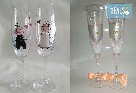 Ръчно рисувани и декорирани ритуални чаши или декорирани комплекти по избор за Вашата неповторима сватба от Ателие МатуреАрт - Снимка 5