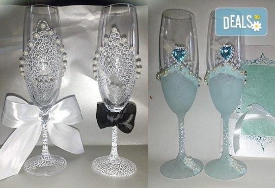 Ръчно рисувани и декорирани ритуални чаши или декорирани комплекти по избор за Вашата неповторима сватба от Ателие МатуреАрт - Снимка 7
