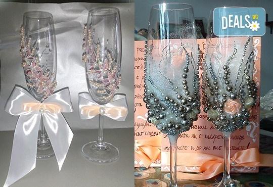 Ръчно рисувани и декорирани ритуални чаши или декорирани комплекти по избор за Вашата неповторима сватба от Ателие МатуреАрт - Снимка 4