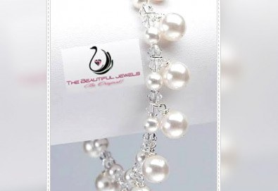 Подчертайте уникалността си с красива и стилна гривна от бели перли и кристали от www.krasivibijuta.com! - Снимка