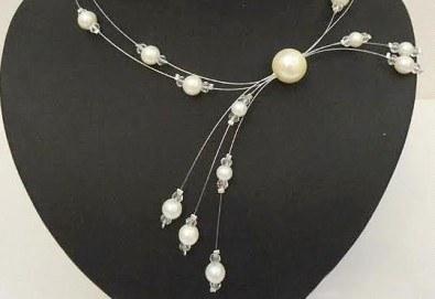 Бъдете различни с асиметрично колие от бели перли с висулки от www.krasivibijuta.com! - Снимка
