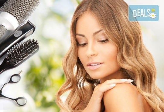 Подстригване с техника чрез увиване без скъсяване на дължината на косата, масажно измиване, маска и прическа в Studio One - Снимка 1
