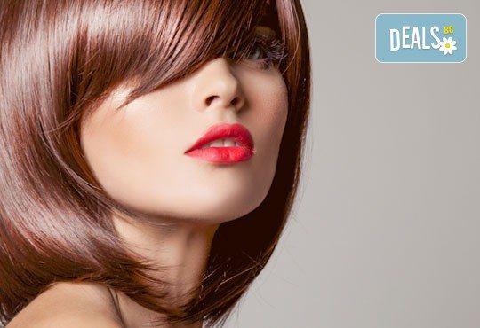 Подстригване, терапия за коса с кератин за възстановяване и блясък с професионални италиански продукти Selective Professional и прическа в Studio One - Снимка 1