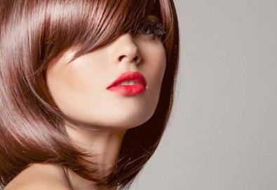 Подстригване, терапия за коса с кератин за възстановяване и блясък с професионални италиански продукти Selective Professional и прическа в Studio One