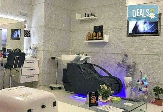 Подстригване с гореща ножица, дълбока кератинова терапия и изправяне чрез преса с пара на LOREAL Steampod в MAKRATI Hair and Beauty - Снимка 6