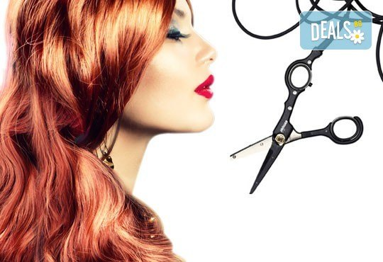 Подстригване с гореща ножица, дълбока кератинова терапия и изправяне чрез преса с пара на LOREAL Steampod в MAKRATI Hair and Beauty - Снимка 1