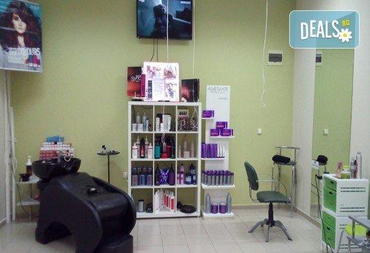 Иновативна фотон лазер терапия за коса с колаген, хайвер, ботокс и арган, измиване, нанасяне на флуид с инфраред преса и оформяне със сешоар в Женско царство - Център /Хасиенда/! - Снимка 7
